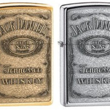 Zippo Lighter Set - Jack Daniels Pewter and Brass Label Emblem Set of Two Pair