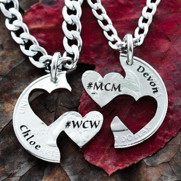 Custom Names, Couples Heart Necklaces, #MCM #WCW engraved