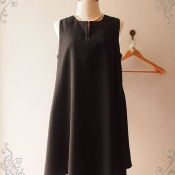 Flash Sale Classic Black Dress Little Black Dress Black Summer Dress, Vintage Inspired Maternity Loose Pockets Dress, XS-XL,custom