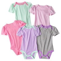 Circo® Newborn Girls' 5 Pack Short-sleeve Bodysuit Set -Green/Pink/Gray