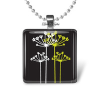 black white yellow flowers silhouette, glass tile necklace, 1 inch