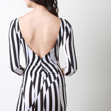 Open Back Striped Abstract Mini Dress