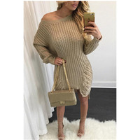 Loose Knit Irregular Holes Sweater Dress 13132