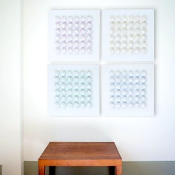 "Wall Art Sculpture Modern White And Blue Minimalist Geometric 3D Rotatable Wood Blocks Soft Calm Restful OP Art 24"" x 24"" Interactive Grid"