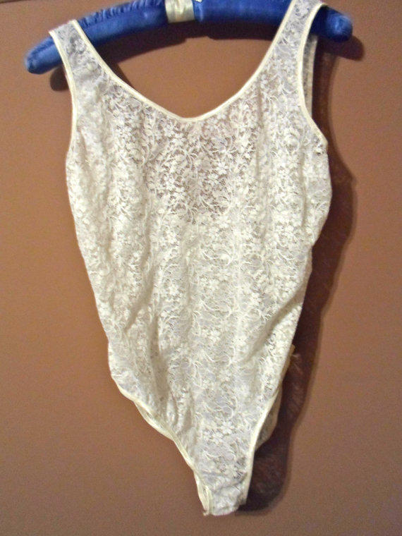 80s Sheer White Lace Leotard or Bodysuit, see through lingerie, low back