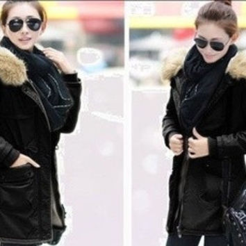 Women Lady Parka Winter Warm Thicken Fleece Trench Hooded Coat Jacket Outwea [9126645900]