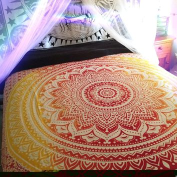 Sunny Orange Ombre Fade Boho Bohemian Wall Bed Tapestry
