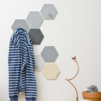 Hexagon wall hooks set with knobs - Wall fixed Coat Hook - Natural Gray Entryway coat hooks - Modern wall hook bathroom - Ready to ship