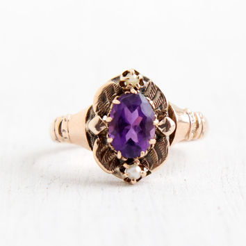 Antique Victorian 9k Rose Gold Amethyst and Seed Pearl Ring- Size 6 Late 1800s Purple Gemstone Ring
