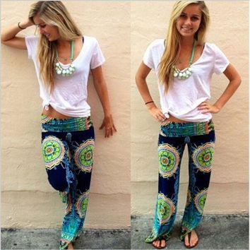 DCCK8H2 New Women Casual Boho Floral Harem Yoga Running Loose Long Pants Trousers