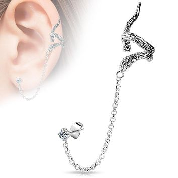 Snake Design WildKlass Ear Cuff with Chain Linked Clear CZ set Stud Ear WildKlass Rings (Sold by Piece)