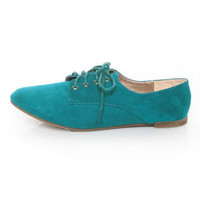 Qupid Salya 585 Teal Suede Lace-Up Oxfords - $27.00