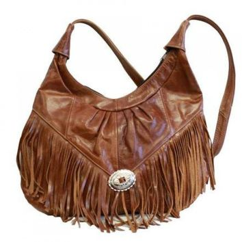 Shiny Brown Mexican Genuine Leather Hobo Style Fringe Purse