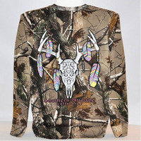 Country Life Southern Attitude Bone Realtree Camo Camouflage Deer Skull Feathers Long Sleeve  T-Shirt