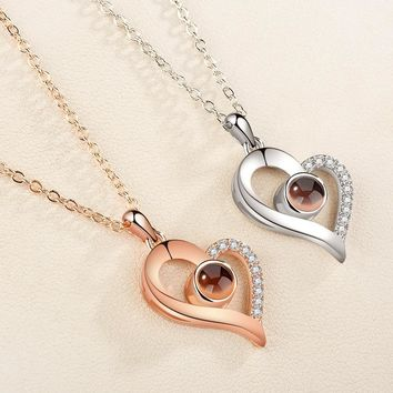 HOT Projection 100 Languages I Love You Pendant Necklace For Women Love Memory Wedding Necklace Choker Gift for Lover