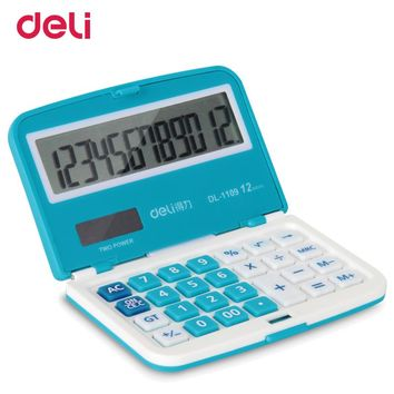 Deli high quality solar mini pocket calculator for school office calculate supply cute foldable calculator multifunctional gift