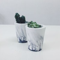Marbled Cement Plant Pot