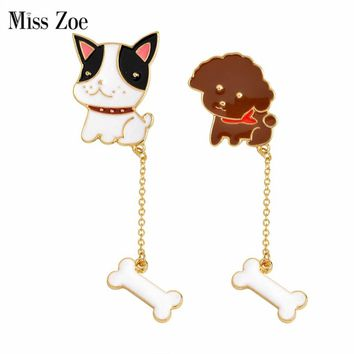 Miss Zoe Cartoon Poodle French Bulldog Puppy Dog Bone Chian Brooch Pins Chain Button Pin Denim Jacket Badge Gift Animal Jewelry