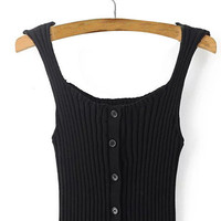 Vertical Stripes Knitted Buttons Front Croptank Top