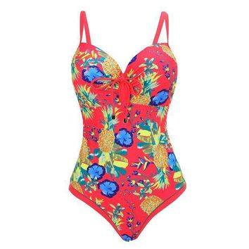 Printing Series Plus Size Swimwear Sexy Deep V Neck Push Up Swimsuit Women One Piece Halter Sport Suit Summer Hot Sale