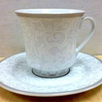 6 White Lace on White Teacups - Perfect teacups for bridal events!