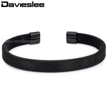 Davieslee Womens Mens Bracelet Mesh Cuff Bangle Black Gold Silver Pink Stainless Steel Fashion Jewelry 8mm KGM03