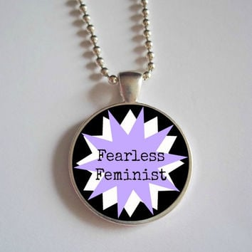 Fearless Feminist Necklace // feminist dome Necklace