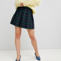 Unique 21 Pleated Mini Skirt In Tartan Co-Ord at asos.com