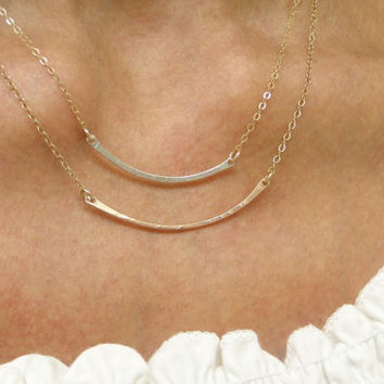 Layer Bar Necklace in Sterling Silver , Gold,  Rose Gold / 2 Bar Layering Necklace Set, Layering Necklace