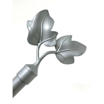 Adjustable Metal Curtain Rods With Dual Leaf Finial- Frida- Silver
