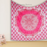 Pink Ombre 100% Cotton Throw Hippie Mandala Tapestry Indian Bedspread Dorm Wall Hanging Boho Beach Blanket