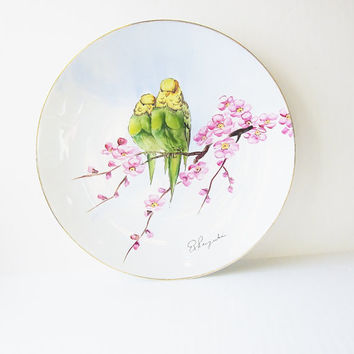 Parakeets In Cherry Blossoms Vintage Cabinet Plate Fine China Hand Painted Porcelain R SUZUKI JAPAN Minimalist Spring Pastel Mid Century