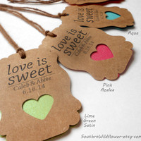 33 Metalic Colors to Choose From, Love is Sweet Wedding Gift Tags - Wedding Favors, Extra Heavy Weight, Customizable Wedding Tags