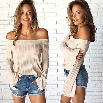 Women Simple Solid Color Knit Stripe Pagoda Sleeve Long Sleeve Loose Off Shoulder Tops