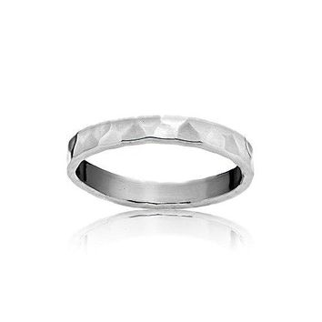 Sterling Silver Polished Hammered Midi Stackable Wedding Band Ring