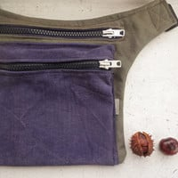 Olive Green Violet Hip Bag, Casual Belt Bag, Urban Hip Pouch, Festival Belt Purse