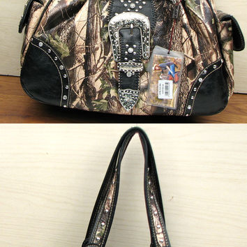 Black /Camo Buckle Handbag Purse