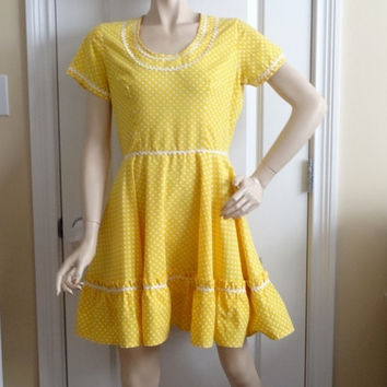 1970s Vintage Home Sewn Square Dance Dress in Yellow & White Polka Dots, Rick Rack Trim, Size 12-14, Vintage Square Dance Costume Dress