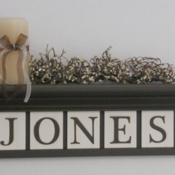 "Wedding Gift Personalized Family Name Signs 24"" Shelf with 5 Wooden Letter Plaques Chocolate Brown and White Customized for JONES"
