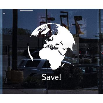 Window Graphics Word Earth Save Greenpeace Decor Living Room Wall Sticker Vinyl Decal Unique Gift (z1123w)