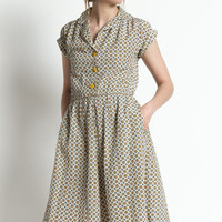 Vintage 40s White, Yellow, and Blue Printed Silk Short Sleeve Day Dress | M