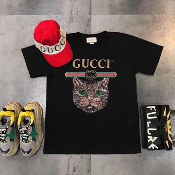 DCCKVQ8 Gucci' Women Casual Letter Print Embroidery Sequin Cat Head Short Sleeve T-shirt Shirt Top Tee