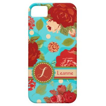 Custom Vintage Roses Turquoise iPhone 5/5S Case