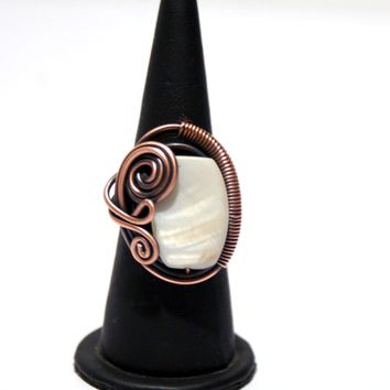 Handmade Mother of pearl wire wrapped copper ring
