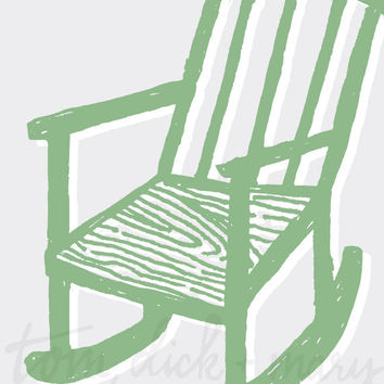 Rock Me Mama Nursery Art Nursery Decor Wall Art Handmade Rocking Chair Green - 8 x 10, 11 x 14, 13 x 17