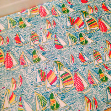 "Large Lilly Pulitzer Inspired ""You Gotta Regatta"" Bath Mat -- Velvety Soft Memory Foam Mat in Lilly!!"