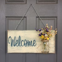 Rustic Outdoor Welcome Sign in blue/white - Outdoor Welcome Sign - Outdoor Decor - Home Decor - Door Sign - Rustic Sign - Front Porch Sign