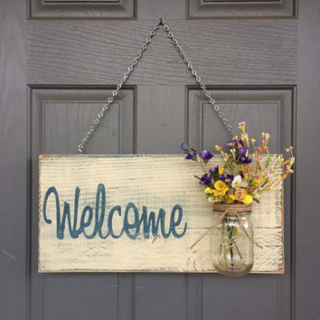 Rustic Outdoor Welcome Sign In Blue/white   Outdoor Welcome Sign