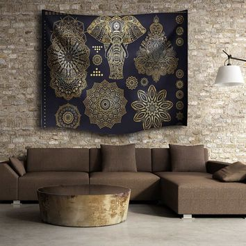 Black Gold Indian Mandala Elephant Tapestry 153X102cm Hanging Polyester Throw Blanket Bedspread Mat Home Room Decor Supplies