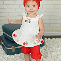 Solid Red Double Ruffle Shorties Shorts - Infant & Baby Sizes!